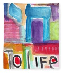 Colorful Life- Abstract Jewish Painting Fleece Blanket