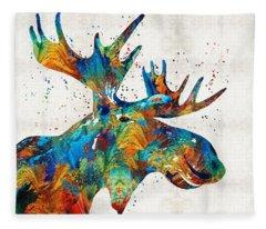Colorful Moose Art - Confetti - By Sharon Cummings Fleece Blanket