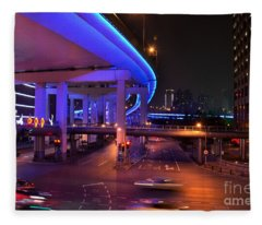 Colorful Night Traffic Scene In Shanghai China Fleece Blanket