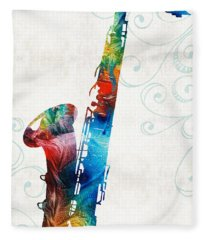 Colorful Saxophone 3 By Sharon Cummings Fleece Blanket