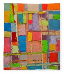 Colorful Spring Mood - Abstract Expressionist Composition Fleece Blanket