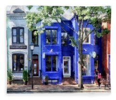 Alexandria Va - Colorful Street Fleece Blanket