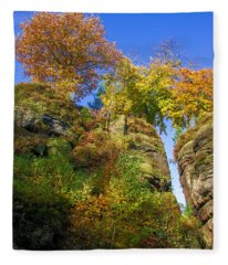 Colorful Trees In The Elbe Sandstone Mountains Fleece Blanket