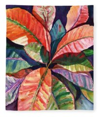 Colorful Tropical Leaves 1 Fleece Blanket