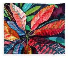 Colorful Tropical Leaves 2 Fleece Blanket