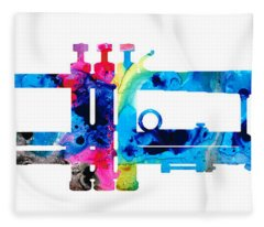 Colorful Trumpet 2 Art By Sharon Cummings Fleece Blanket