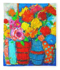 Colorful Vases And Flowers - Abstract Expressionist Painting Fleece Blanket