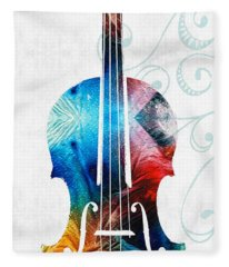 Colorful Violin Art By Sharon Cummings Fleece Blanket