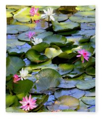 Colorful Water Lily Pond Fleece Blanket