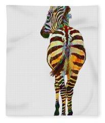 Colorful Zebra Fleece Blanket