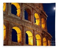 Colosseum And Moon Fleece Blanket