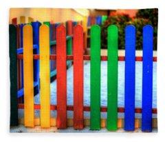 Colourful Caribbean Fence II Fleece Blanket