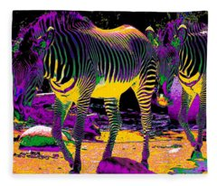 Colourful Zebras  Fleece Blanket