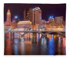 Columbus Skyline At Night Color Panorama Ohio Fleece Blanket