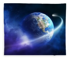 Comet Moving Passing Planet Earth Fleece Blanket