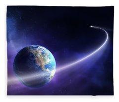Comet Moving Past Planet Earth Fleece Blanket