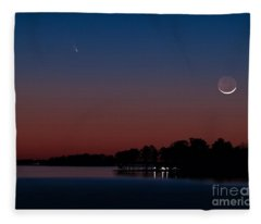 Comet Panstarrs And Crescent Moon Fleece Blanket