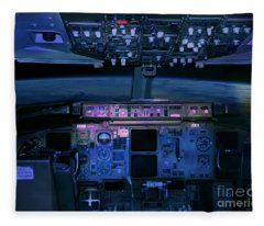 Commercial Airplane Cockpit By Night Fleece Blanket