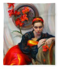 Common Threads - Divine Feminine In Silk Red Dress Fleece Blanket