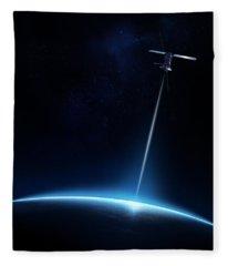 Communication Between Satellite And Earth Fleece Blanket