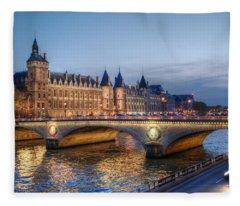 Conciergerie And Pont Napoleon At Twilight Fleece Blanket