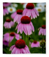 Coneflowers In Front Of Daisies Fleece Blanket