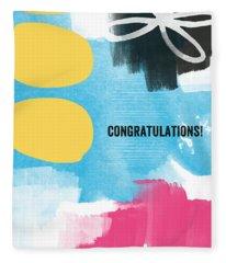 Congratulations- Abstract Art Greeting Card Fleece Blanket