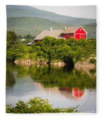 Fleece Blanket featuring the photograph Connecticut River Farm by Edward Fielding