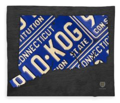 Connecticut State Outline License Plate Map Edition 2 Fleece Blanket