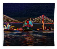 Container Ship Arriving At Savannah Fleece Blanket