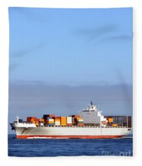 Container Ship At Sea Fleece Blanket