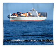 Container Ship Fleece Blanket