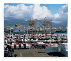 Containers And Cranes At A Harbor Fleece Blanket