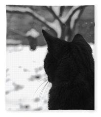 Contemplating Winter Fleece Blanket