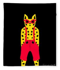 Cool For Cats In Red Dungarees Fleece Blanket