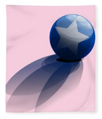 Blue Ball Decorated With Star Fleece Blanket