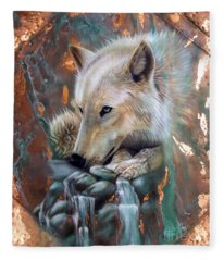 Copper Arctic Wolf Fleece Blanket