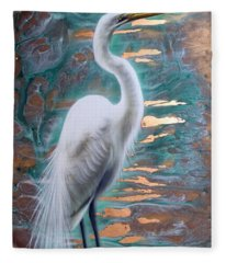 Copper Egret Fleece Blanket