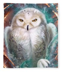 Copper Snowy Owl Fleece Blanket