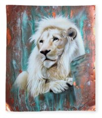 Copper White Lion Fleece Blanket