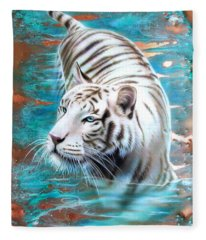 Copper White Tiger Fleece Blanket