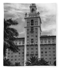 Coral Gables Biltmore Hotel In Black And White Fleece Blanket