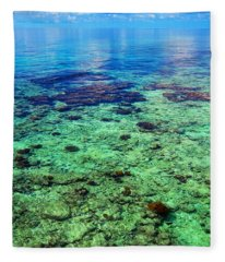 Coral Reef Near The Island At Peaceful Day. Maldives Fleece Blanket