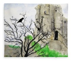 Corfe Castle And Crow Fleece Blanket