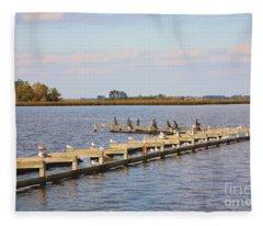 Cormorants And Seagulls On Old Dock Near Blackwater  National Wildlife Refuge Near Cambridge Md Fleece Blanket