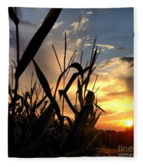 Cornfield Sundown Fleece Blanket