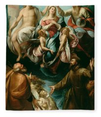 Coronation Of The Virgin With Saints Joseph And Francis Of Assisi Fleece Blanket