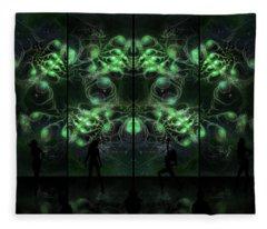Fleece Blanket featuring the digital art Cosmic Alien Vixens Green by Shawn Dall