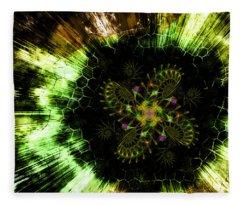 Fleece Blanket featuring the digital art Cosmic Solar Flower Fern Flare by Shawn Dall