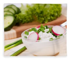 Cottage Cheese With Radish And Chives  Fleece Blanket